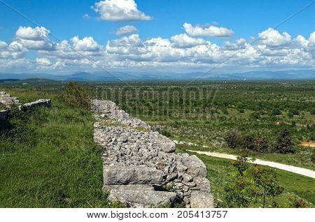 Remains of defense wall on Bribir fortress, Dalmatia