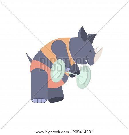 Concept of a rhinoceros in a fitness center. Cute character rhino with weight. Vector illustration eps 10