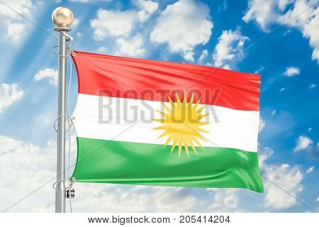 Iraqi Kurdistan flag waving in blue cloudy sky 3D rendering