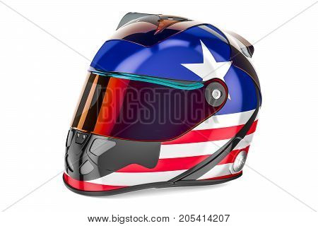 Racing helmet with flag of USA 3D rendering isolated on white background