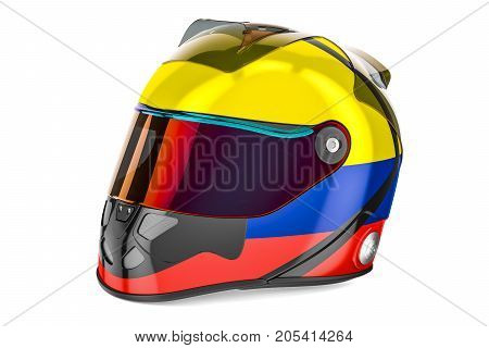 Racing helmet with flag of Colombia 3D rendering isolated on white background