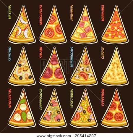 Vector set slices of italian Pizza: 12 labels for pizzeria menu with title text, triangular pieces different kinds of pizza top view with original font, design signs for pizza in fast food restaurant.