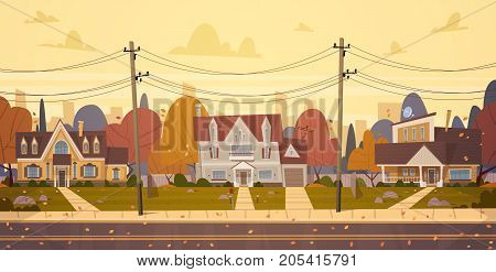 Houses Suburb Of Big City In Autumn, Cottage Real Estate Cute Town Concept Flat Vector Illustration