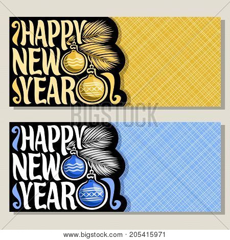 Vector greeting cards for New Year event with copy space: xmas baubles on branch of christmas tree on geometric background, original handwritten font for text happy new year, christmas coupon for sale