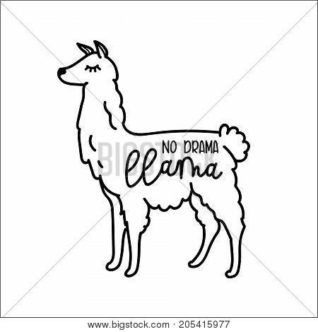 Llama vector quote with doodles. No drama llama motivational and inspirational quote. Simple cool white llama head drawing. hand drawn vector illustration for cards, t-shirts, cases.