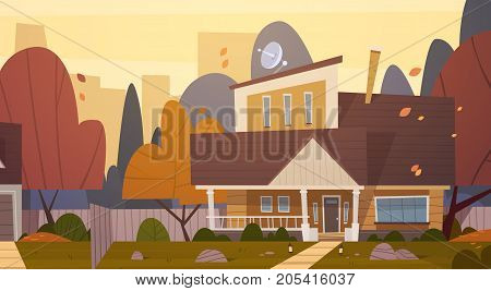 House Building Suburb Of Big City In Autumn, Cottage Real Estate Cute Town Concept Flat Vector Illustration