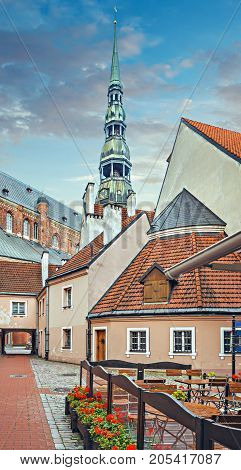 The medieval church of St. Peter in old Riga city. The church is of the oldest and highest buildings in Baltic region, Europe