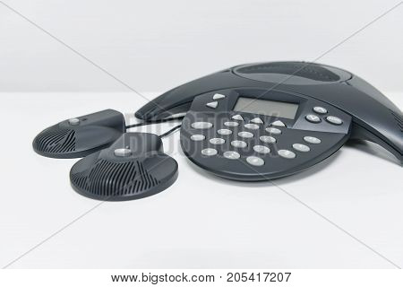 IP conference device for remote meeting on the white table