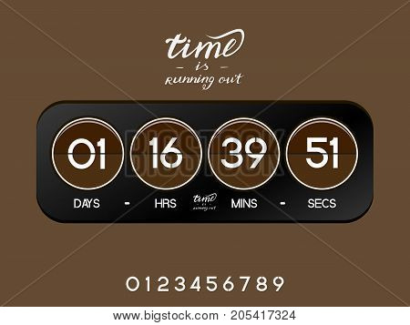 Analog black countdown timer for the website. Circle section. Days, hours, minutes, seconds. Brown background. Vector drawing