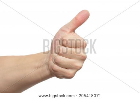man's hand isolated on white background . Photo of an abstract texture