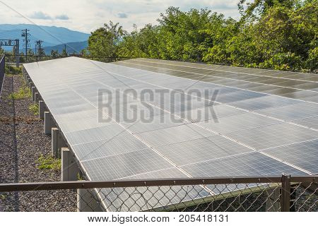Solar power panels Photovoltaic modules for innovation green energy for life .