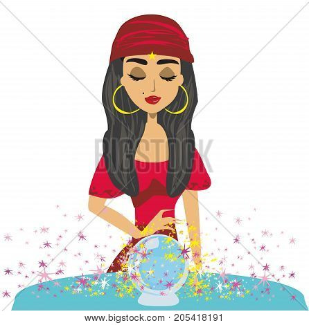 Fortune teller woman reading future on magical crystal ball , vector illustration