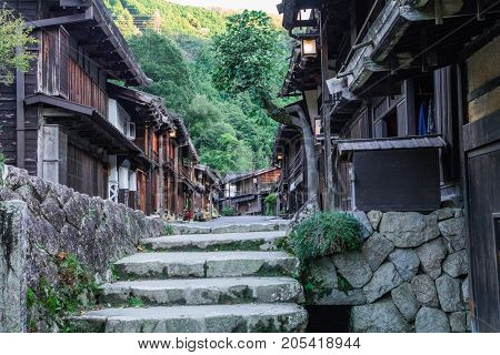 Kiso valley is the old town or Japanese traditional wooden buildings for the travelers walking at historic old street in Narai-juku Nagano Prefecture JAPAN.