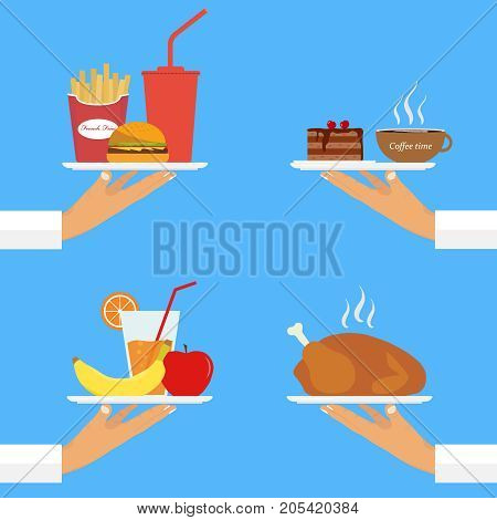 The waiter on the tray serves food. A hand with a tray carries food. Flat design vector illustration vector.