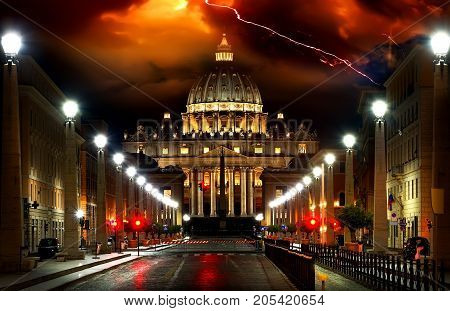Thunder, lightning, storm over the Vatican Rome Italy