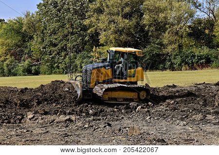 MOORHEAD, MINNESOTA: September 23, 2017: The 750K bulldozer is a product of John Deere Co, an American corporation that manufactures agricultural, construction, forestry machinery, diesel engines, and drive trains.