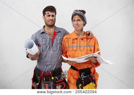 Two Carpenters Or Mechanicers Study Sketch, Want To Have Vacations, Look With Great Reluctance, Don`