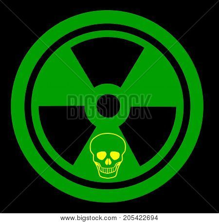 Radiation sign in green and black with small skull outline
