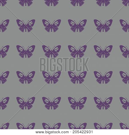 Butterfly vector illustration on a seamless pattern background. Set of elements