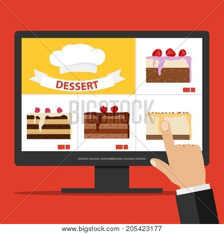 Online Cake Ordering Via The Internet. Select A Cake On The Computer.