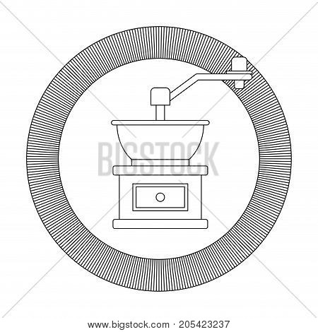 circular logo shield decorative of coffee grinding with crank striped gray silhouette on white background vector illustration