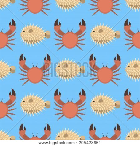 Vector set of cute sea animals creatures characters crab seamless pattern. Cartoon ocean underwater aquarium life water collection graphic aquatic tropical beasts
