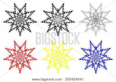 Nine-pointed abstract star - vector pattern - set