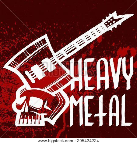 Heavy rock music badge vector vintage label with punk red symbol. Hard sound sticker print emblem. Creative recording hipster classic template.