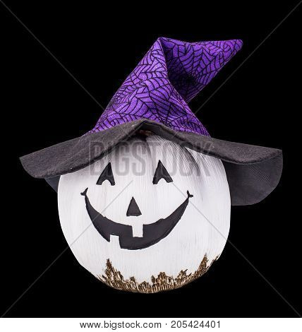 Halloween whit pumpkin with hat isolated on black path and cut out