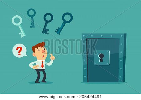Confused businessman try to choose the right key to unlock metal door. business decision concept.