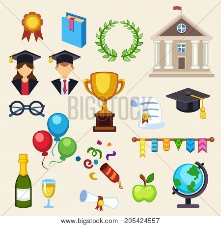 Education school graduation icons on white background. Graduation education university school college student time. Vector graduation education success diploma academic symbols