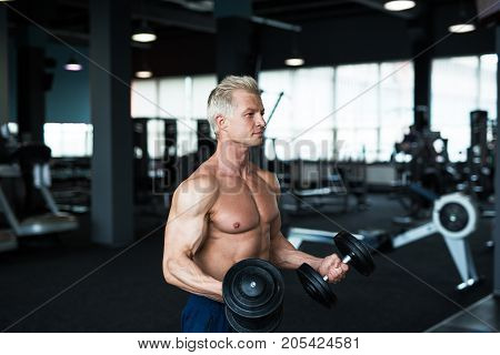 Bodybuilder showing his great body and holding dumbell. Strong man working out in gym