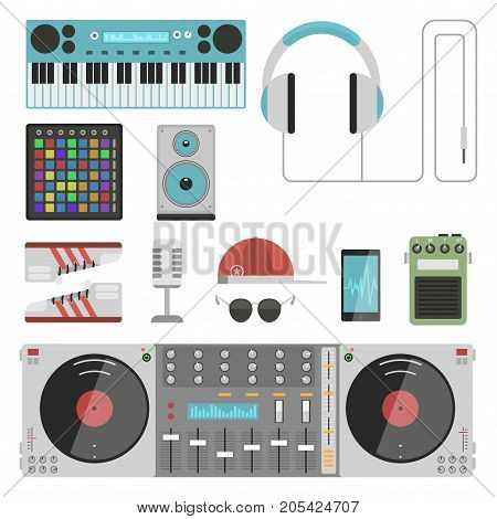 Hip hop accessory musician with microphone breakdance expressive rap music instruments. Modern fashion person dancer trendy icons lifestyle urban handsome rapper teenager expressive sign.