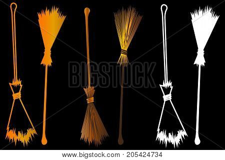 Halloween witches broomstick , Witches broom illustration vector