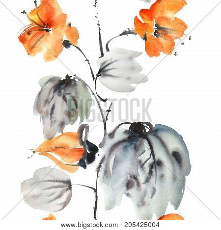 Watercolor and ink botanic illustration of flower. Sumi-e u-sin oriental painting. Seamless pattern.