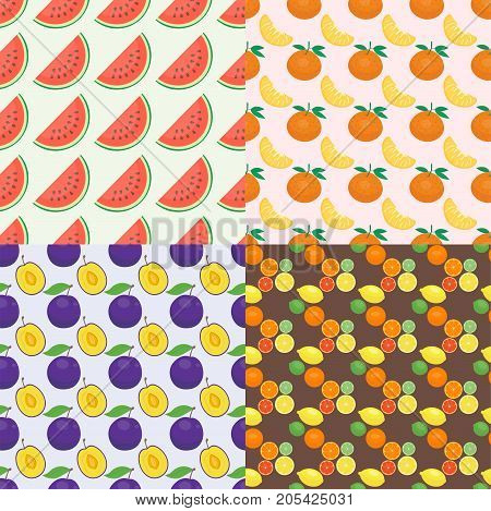 Ripe orange products fruits seamless pattern and slices realistic organic dessert vector illustration. Citrus natural vitamin fresh juice dessert sweet food. Freshness vegan aroma breakfast