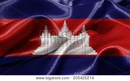 Realistic flag of Cambodia on the wavy surface of fabric. This flag can be used in design