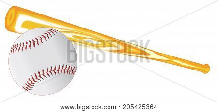 A new baseball and bat on a green background.
