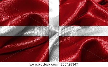 Realistic flag of Sovereign Military Order of Malta on the wavy surface of fabric. This flag can be used in design