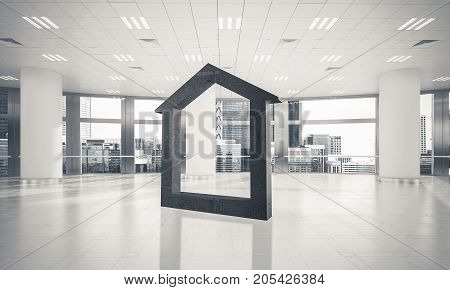 House stone figure as symbol of real estate and elegant office design. 3d rendering