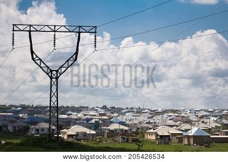 High-voltage power line . In the park in nature