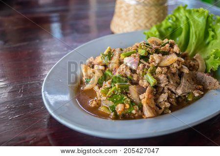 Spicy Minced Pork Salad (laab) At Thai Street Food