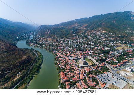 The city of Mtskheta and the monastery of Svetitskhoveli. Aerial photography.