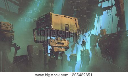 sci-fi scenery of the man in abandoned futuristic city with weird buildings, digital art style, illustration painting