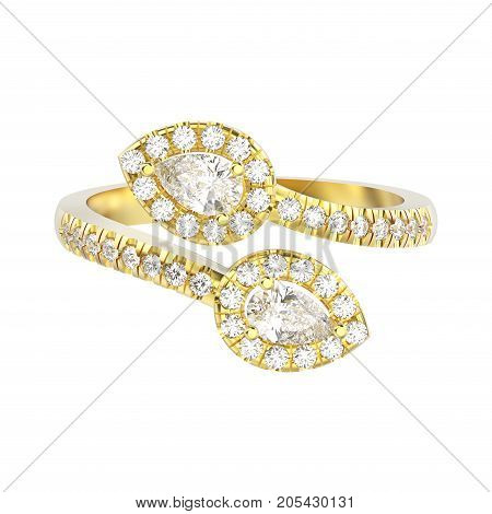 3D illustration isolated yellow gold leaflet diamond ring on a white background