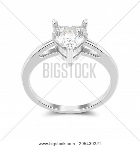 3D illustration isolated white gold or silver engagement ring with diamond heart with shadow on a white background