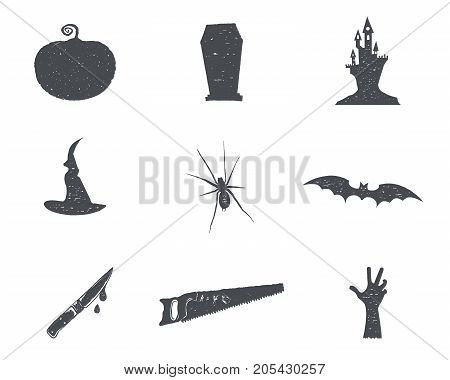 Set of halloween silhouette isons. Vintage hand drawn Halloween party symbols design for celebrating holiday. Retro monochrome style. Stock vector isolated on white background.