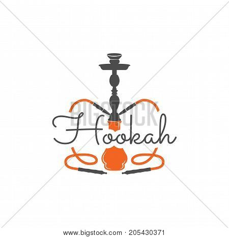 Hookah relax label, badge. Vintage shisha logo. Lounge cafe emblem. Arabian bar or house, shop. Isolated. Print on t-shirts etc. Stock vector illustration.