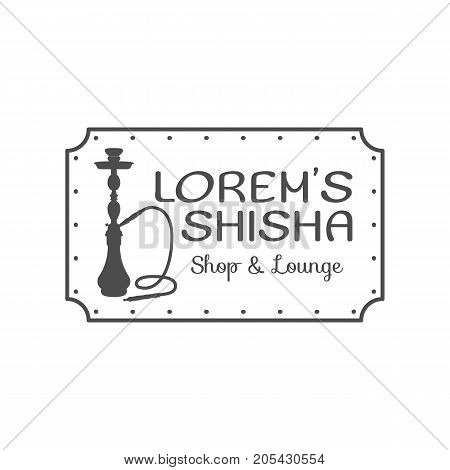 Hookah relax label, badge. Vintage shisha logo. Lounge cafe emblem. Arabian bar or house, shop. Isolated. Stock vector illustration. Monochrome design.