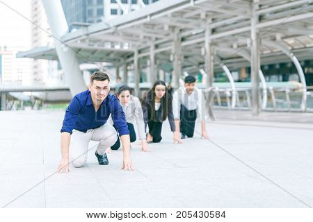 Business competition requires a powerful team business teamwork ready to start running concept of business race work life balance compete with colleagues.